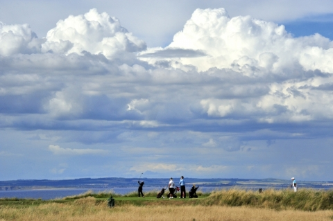 Gullane No 1. 15th tee with players