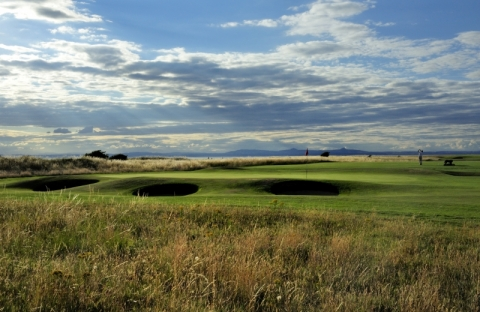 Gullane No 1. 3rd green with bunkers
